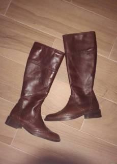 1eaa10bdd8717f Высокие итальянские кожаные сапоги на невысоком каблуке Globus shoes 39  Globus shoes 450грн